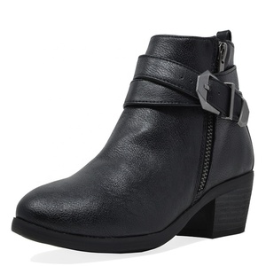 2019 China Sale Brown Black Zipper Leather Block Heel Ladies Women Ankle Boots