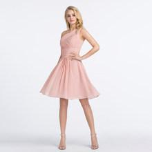 Женское короткое платье с рюшами Alagirls, розовое платье подружки невесты на одно плечо, простые халаты длиной до колена размера плюс 2020(Китай)