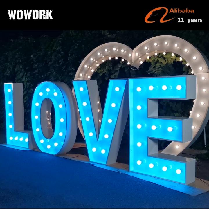 WOWORK fábrica doble borde led impermeable boda decorativa 4ft sra. Y sr. Marquesina letras de fondo luz