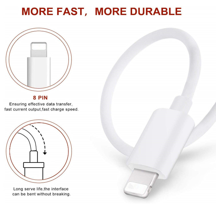 2019 OEM 1M 2M Foxconn Original Quality E75 8IC 8 Pin Micro Usb Charger Cable For iPhone XS/XR/8S/8/7S/6S Usb Data Cable