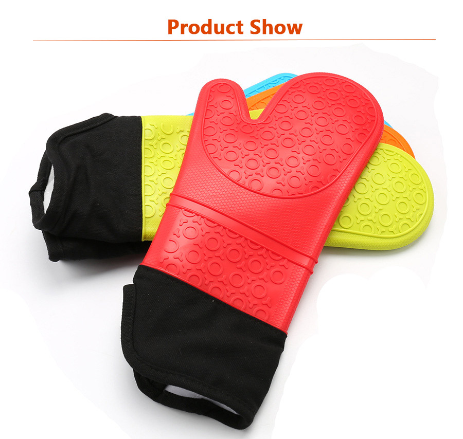 Custom Heat Resistant Microwave Silicone Kitchen Oven Mitt Finger Protector Gloves