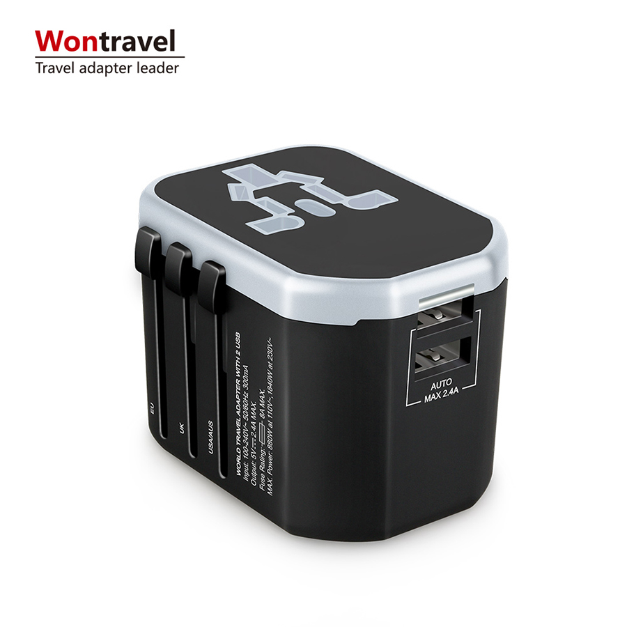 Universal All in One Wall Charger AC Power 2.4A Plug Dual USB พอร์ต USA EU UK Adapter