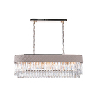 New design Modern Rectangular Faux Leather Luxury K9 Crystal Iron Pendant Chandelier Dining Room