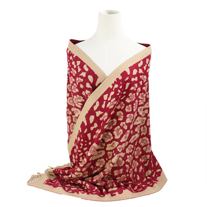 Leopard jacquard tassel scarf women cotton Reversible scarves ladies custom winter warm pashmina hijab autumn shawl