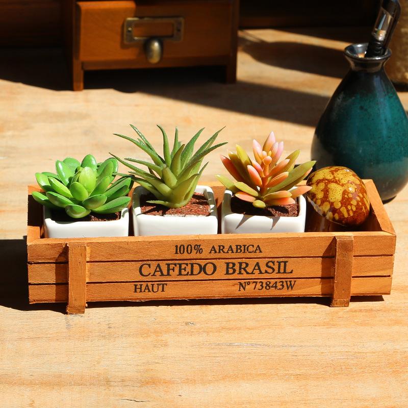 Античный деревянный домашний декор стол Контейнер для мелочей Косметика Органайзер ювелирные изделия цветочный горшок держатель лоток деревянный ящик для хранения