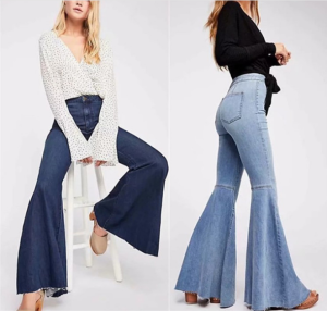 shein sb8426 high waist ladies slim  bell bottom denim jeans