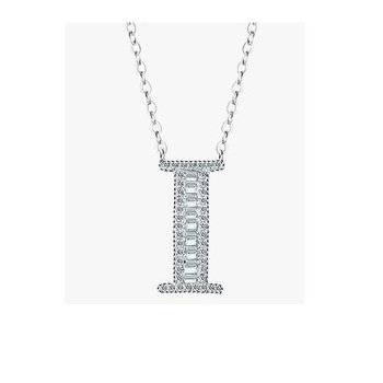 925 Sterling Silver Crystal alphabet design silver Necklace jewelry wholesale