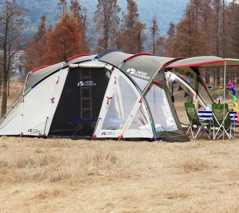 6 Person good quality large size outdoor leisure waterproof double layers camping family tent