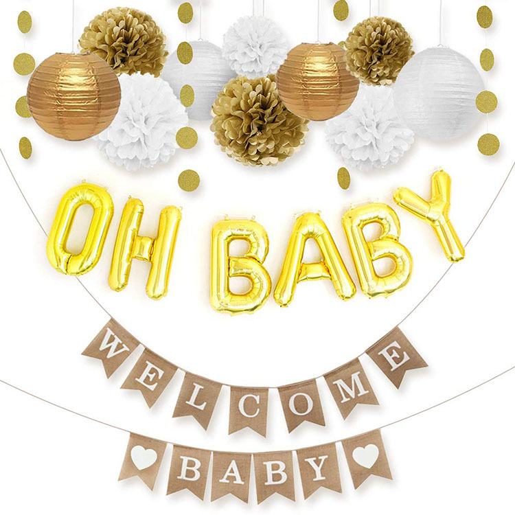 Nicro Gender Neutral Gold White Welcome Oh Baby Party Decorations Baby Shower