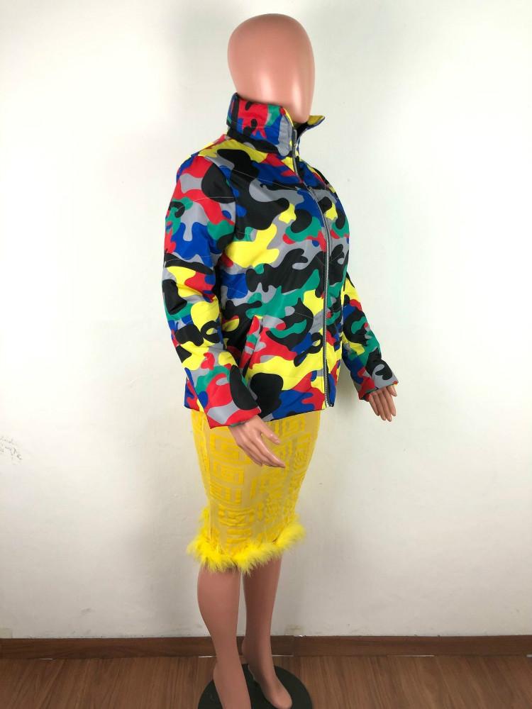 2020 зимняя куртка-пуховик Куртка-пуховик с камуфляжным принтом Меховая куртка-бомбер пузырь пальто пузырь пуховик для девушек