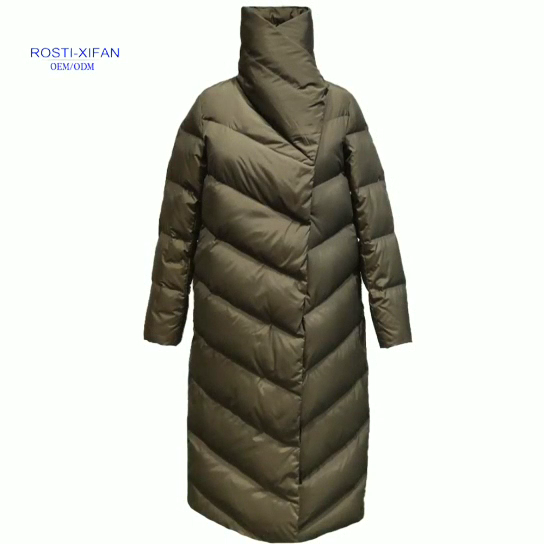 Women's Winter Duck Down Long Padded Coat with  snap buttons on the front placket