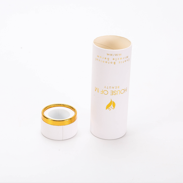custom luxury stamping logo white cardboard perfume packing tube box