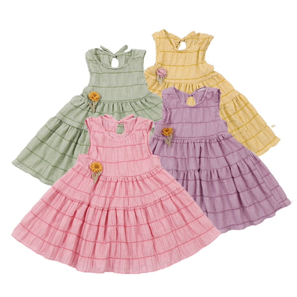Girls Summer Cotton Flower Dress Toddler Pink Pleated Dress Sleeveless Boutique Baby <strong>Kids</strong> Ruffle Striped Dress Solid Color