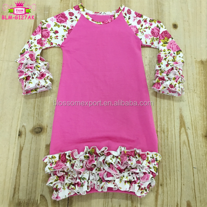 Pictures of latest baby gowns floral long sleeves clothes icing ruffle raglan gowns