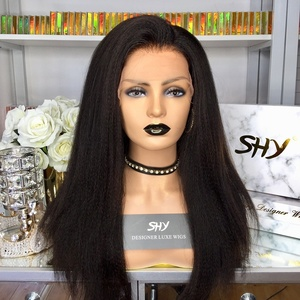Hot Selling 150% Density Kinky Straight 18inch 13*6 Lace Front Wig For Black Women With Bleached Knots Gluless Wig