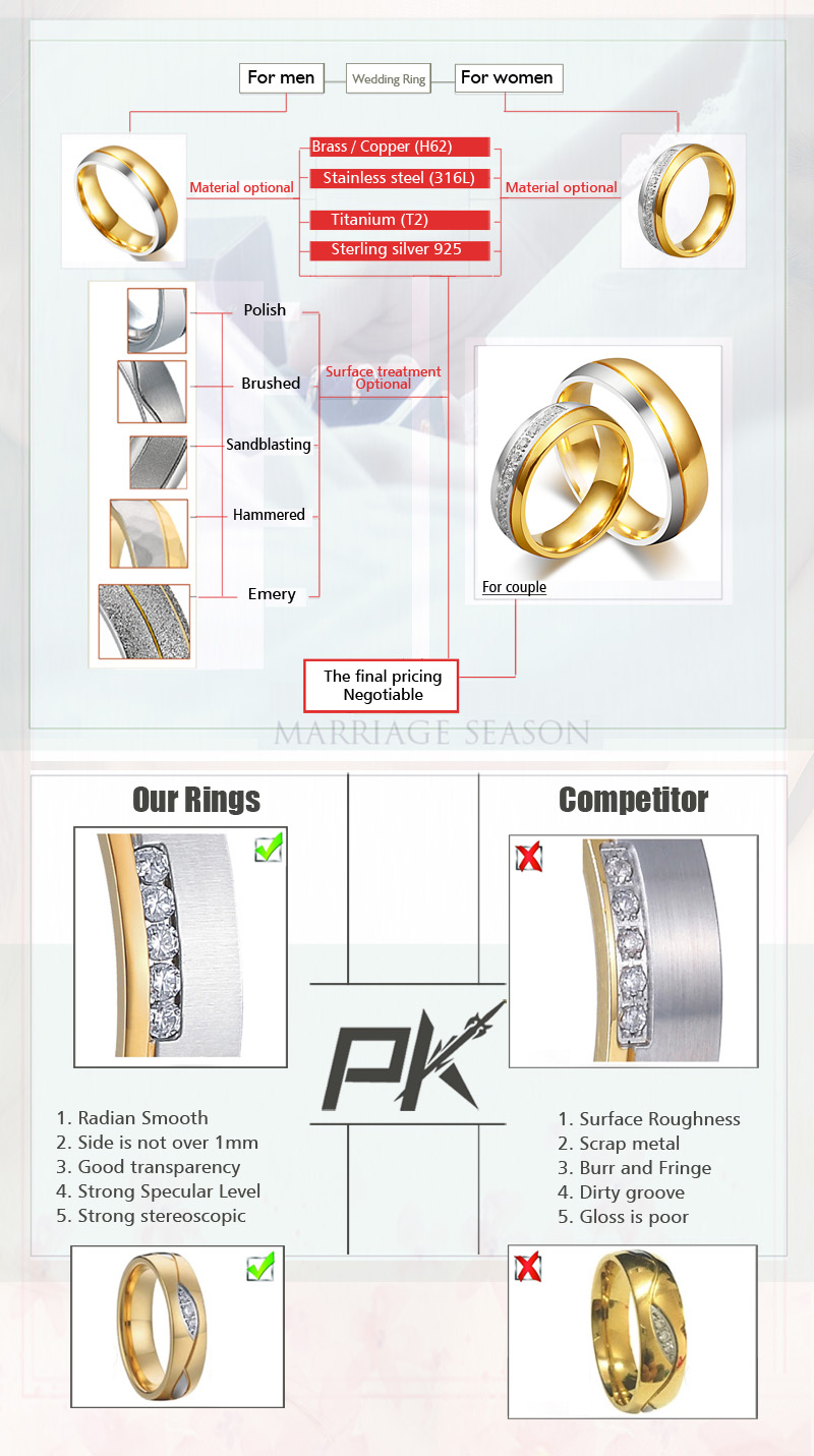 Gold plated diamond rings couple rings for men and women
