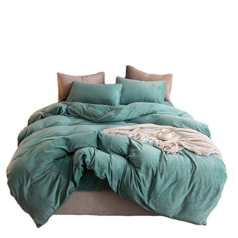 Hot Sale Polyester Flannel Velvet Fleece Winter Warm Embroidery Queen King Size Bed Sheet Quilt Cover Bedding Set Buy Winter Bedding Set Winter Bedding Warm Quilt Cover Product On Alibaba Com