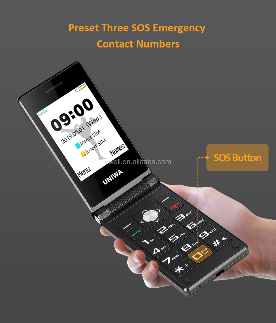 Unlock Cell Phone UNIWA X28 2.8/1.77 Inch Dual Screen SOS Function Big Button Flip Mobile Phone