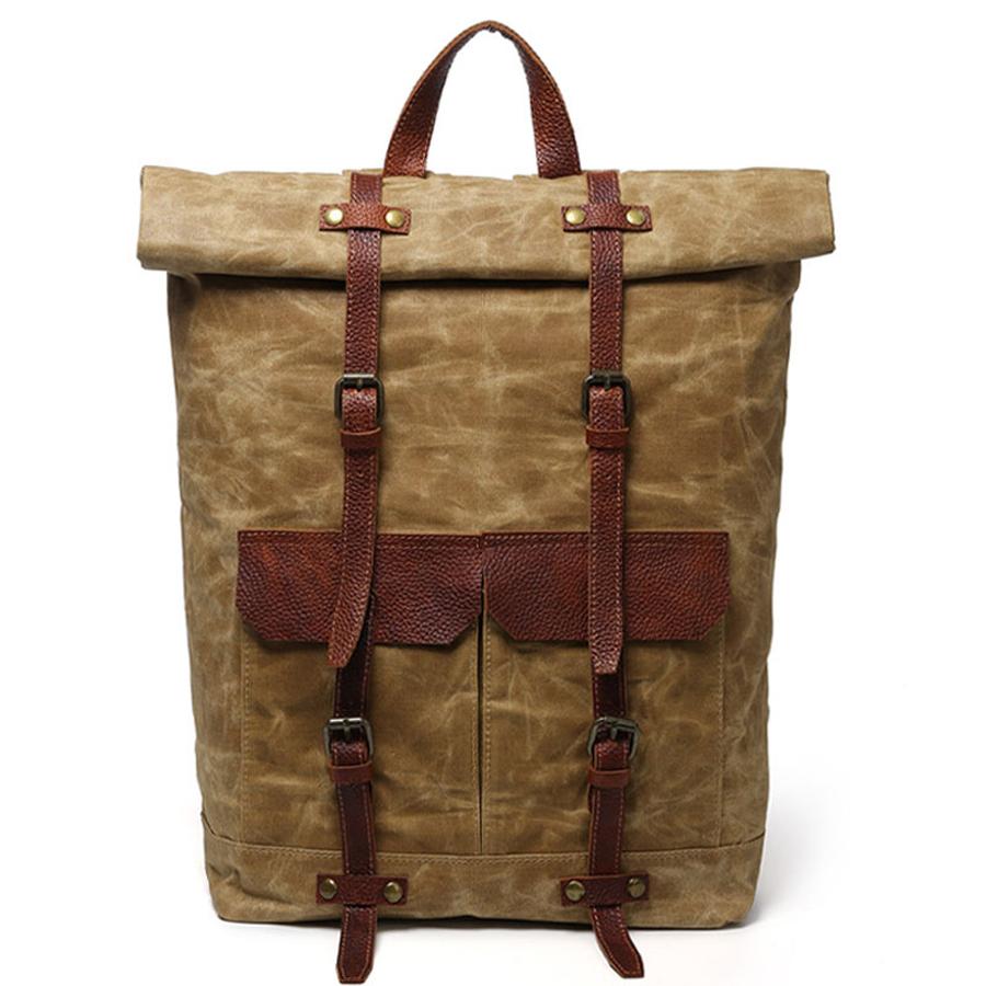 2020 สไตล์วินเทจแฟชั่นกระเป๋าเป้สะพายหลังกันน้ำทนทานผ้าใบกระเป๋าเป้สะพายหลังสำหรับเดินป่า