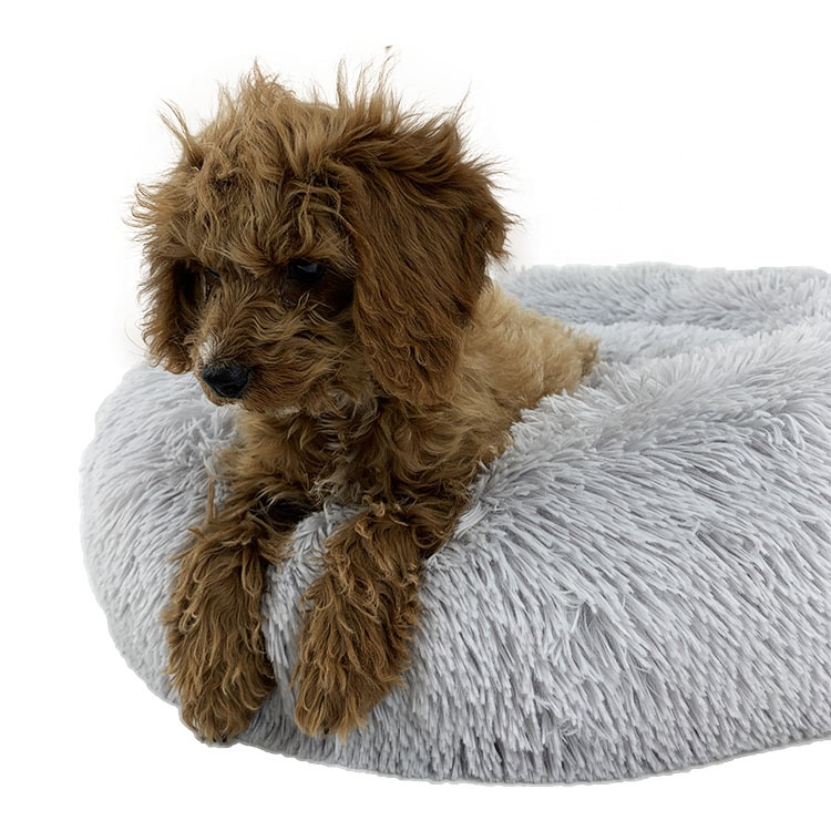 Faux Fur Cat Beds For Dogs Pet Beds Cozy Fur Donut Cuddler Improved Sleep Round Puppy Kennel Nest