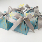 Small unique triangle sweet wedding candy food box custom foldable soft paper candy gift box with ribbon