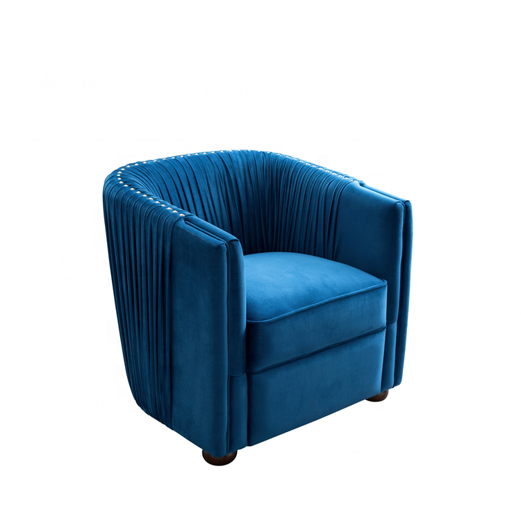 Dingzhi modern sky blue velvet armrest leisure sofa chair