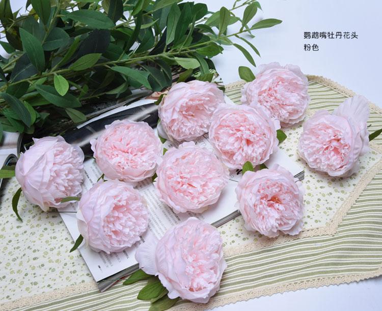 ハイグレードリアルタッチのシルクオウム-ビル牡丹花頭装飾花と花輪