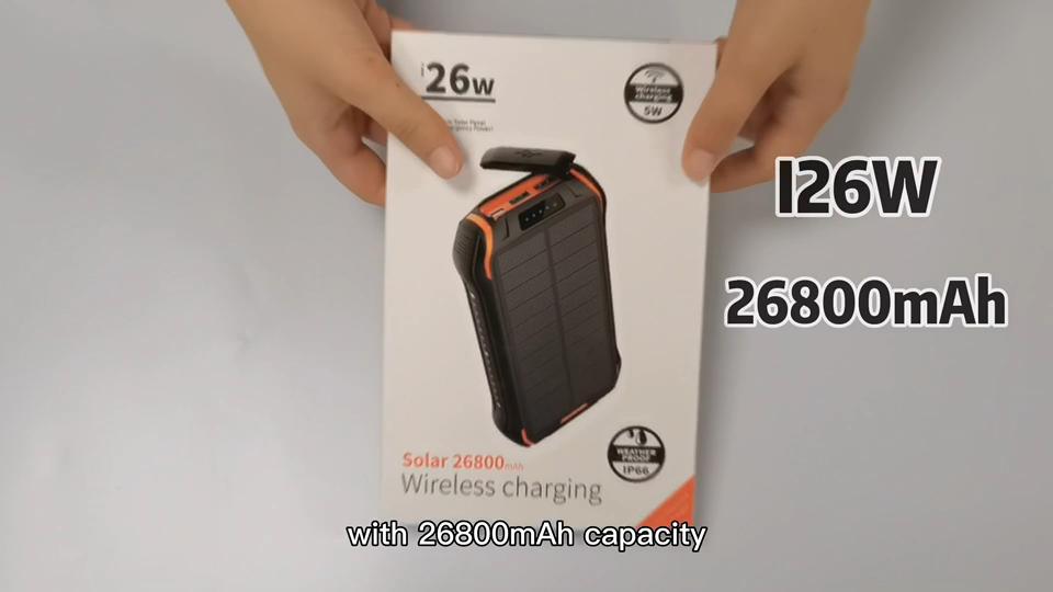 더블 Usb 출력 Ip66 방수 Powerbank 솔라 충전기 Powerbank 태양 전지 20000Mah 태양 Powerbank 무선 충전