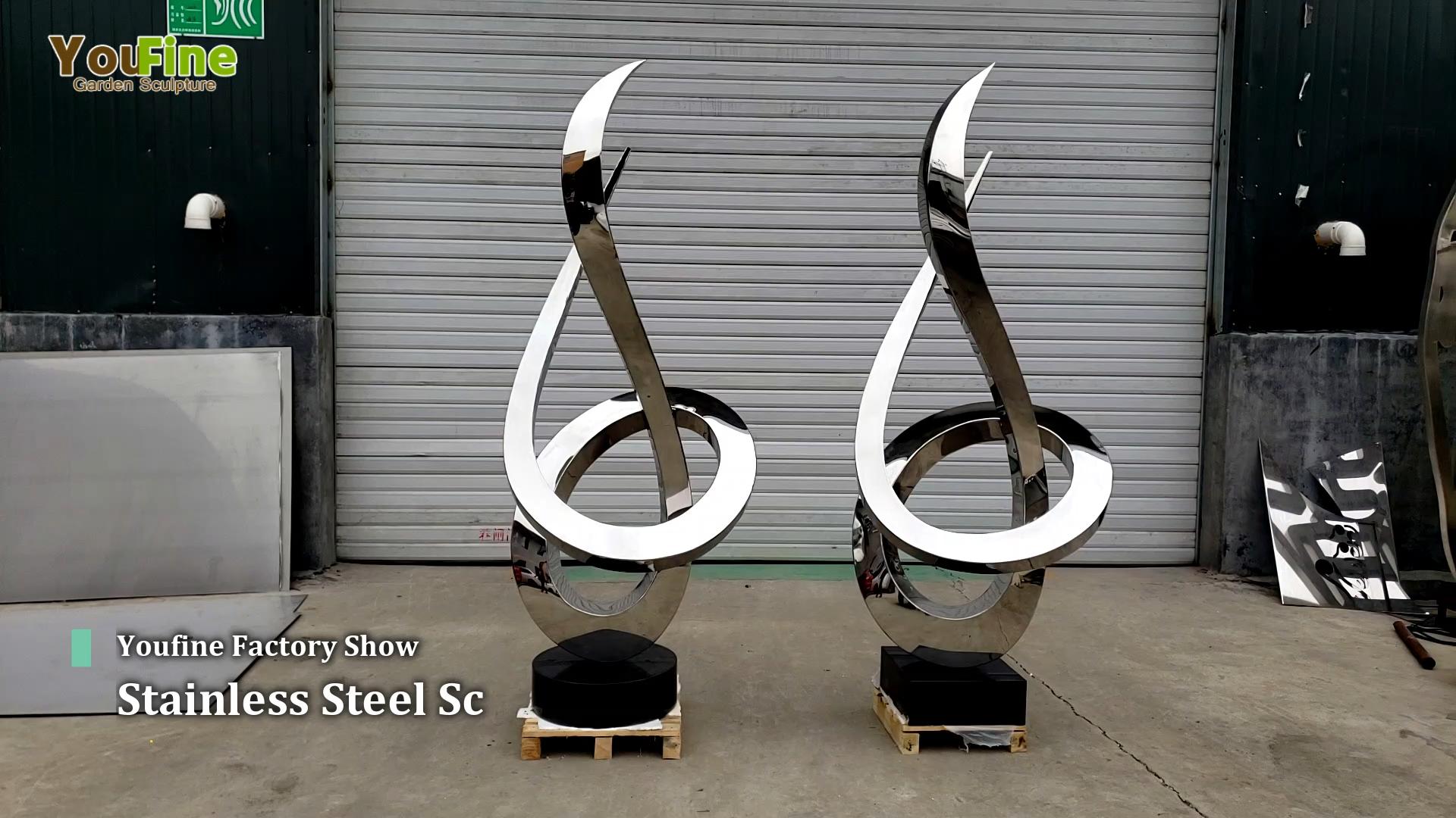 モダンな屋外ガーデンステンレス鋼抽象彫刻