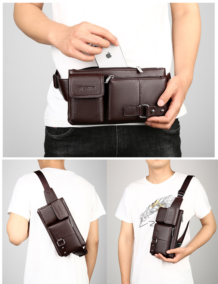 Factory wholesale cheap price leather mens fanny pack crossbody chest men waist bag