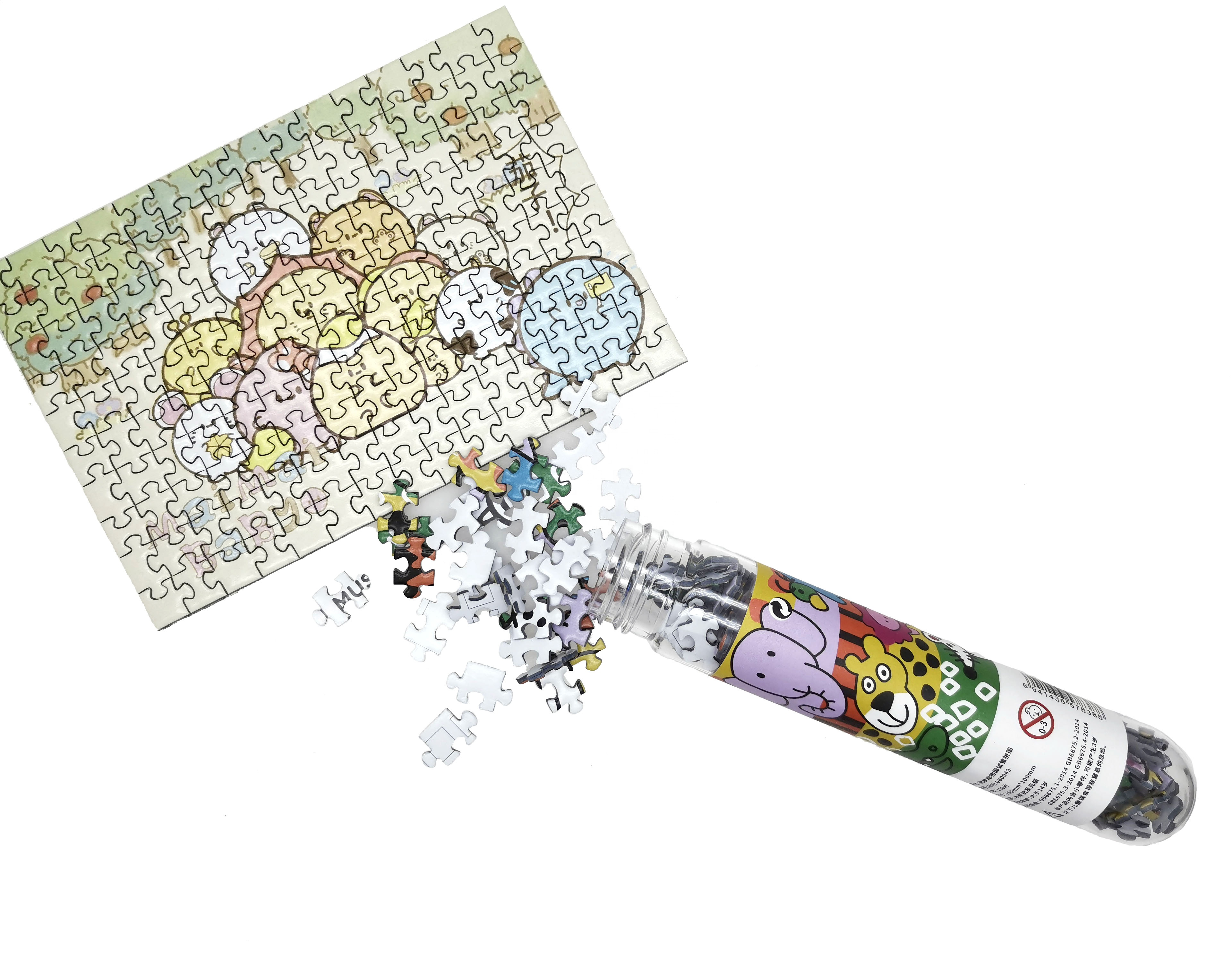 Nice cut 150piece mini puzzle in tube with imported cardboard