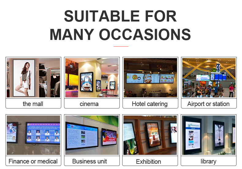 50 inch wall mounted indoor digital advertising lcd display screen