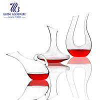 Hand made 500ml U shape clear glass decanter for red wine GB3005-1