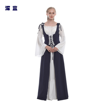 Ecoparty Halloween Medieval Maiden Cosplay Dress Womens Vintage Costume Hooded Dress