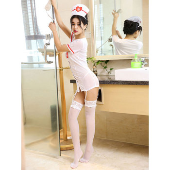 Sexy Nurse Costume Halloween White 3 Piece Women Costume Set