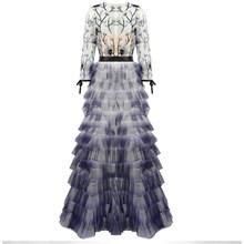Ailigou шикарное платье лавандового цвета, элегантное многослойное гофрированное Сетчатое платье с блестками, платье в пол, банкетное платье з...(Китай)