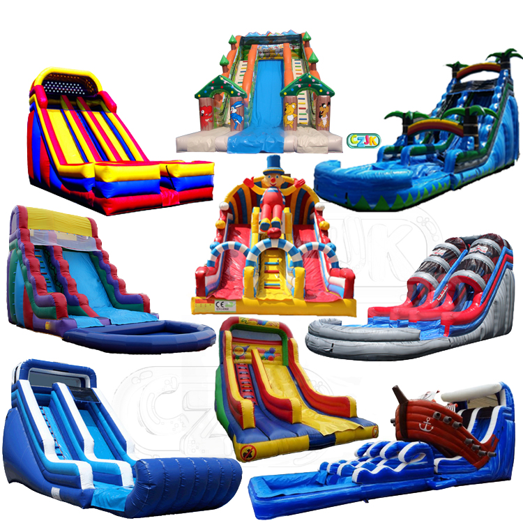 bouncy outdoor air filled adult obstacle big inflatable slide with rock climbing wall