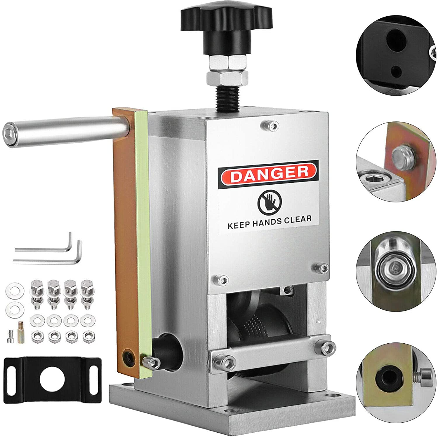 Manual Wire Stripping Machine 0.06-0.98 inches Wire Stripper Machine with Hand Crank Portable Wire Stripping Tool