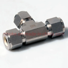 Fittings SS316 Stainless Steel Twin Ferrules Inch Tube Fittings 3 Way Union Tee 1/16 To 1 1/2""