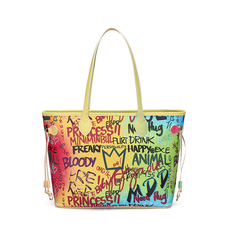 wholesale big size fashion shoulder bags letter print pu leather woman hand bag graffiti tote bag