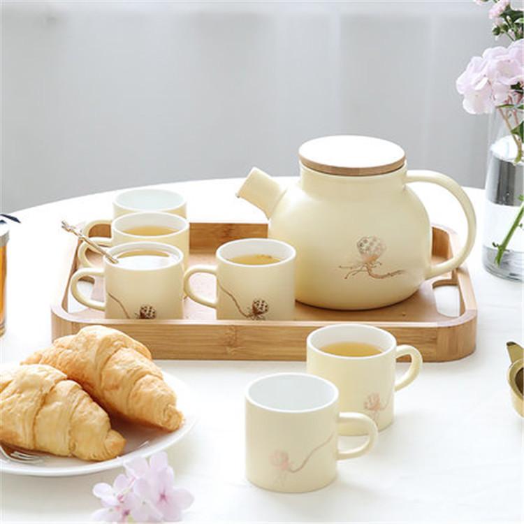 İskandinav taze renk basit desen tasarım sır mat drinkware porselen seramik çay seti ahşap kapaklı