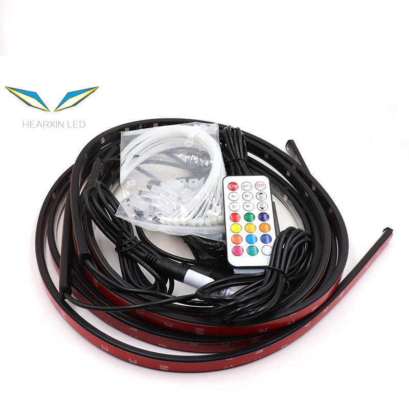 Music Remote Control duall RGB LED Strip Under Car Tube Underglow Underbody System Neon Light DC12V IP65 5050 SMD