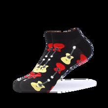 SANZETTI 1 пара, мужские летние повседневные носки до щиколотки, цветные, чесаный хлопок, кенгуру, пицца, гитара, платье, свадебные носки-башмачки(Китай)