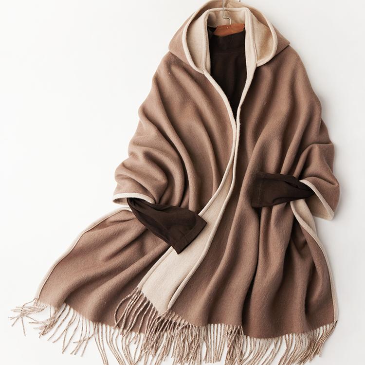 फैशन सर्दियों बरसती कोट देवियों पोंचो शीर्ष वयस्क केप महिला डाकू फर केप लड़की की Hooded 100% ऊन बरसती