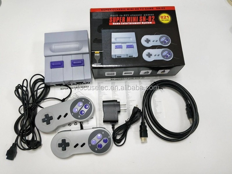 2019 Super Mini SFC Retro Classic Game SNES Console Built-in 821 TV Video Games With Dual Controllers