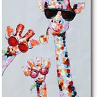 Art Family Animal Wall Art Cartoon Nursery Canvas Wall Art Handmade Impasto Textured Giraffe Family Animal Sunglasses Wall Decor Home Decoration