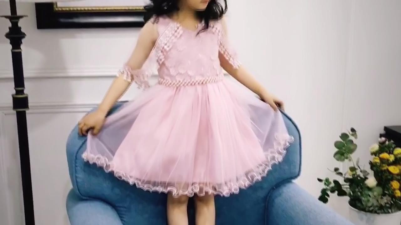 white kids beautiful model dresses summer short sleeve girls kids princess dresses