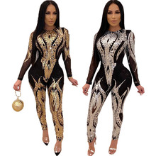 2020 Neue sexy frauen transparent pailletten bodycon overall sexy bodys frauen