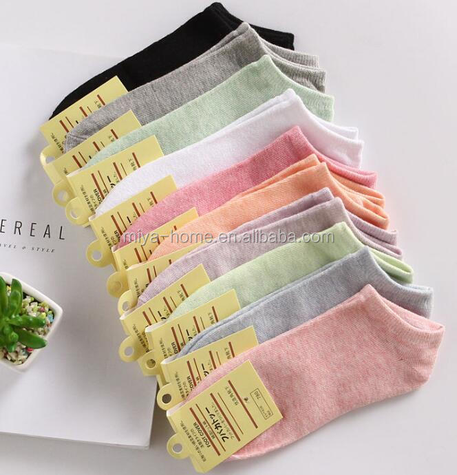 Wholesale women casual ankle socks / girls cute cotton comfortable short boat socks / candy color invisible socks