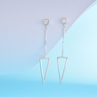 Jewelry Triangle SayYes 925 Sterling Silver Jewelry White Gold Plated Triangle Hanging Drop Earrings White Gold Plated For Women